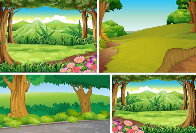 Four different nature scene of forest cartoon style