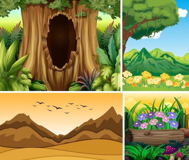 森と山の漫画スタイルの4つの異なる自然シーン