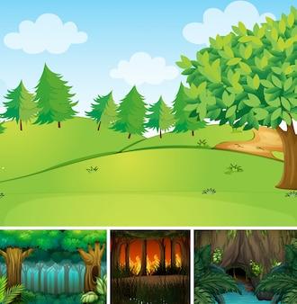 숲과 늪 만화 스타일의 네 가지 자연 장면