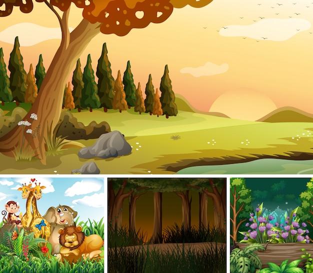숲과 야생 동물 만화 스타일의 네 가지 자연 장면