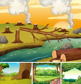 숲 만화 스타일의 네 가지 자연 장면