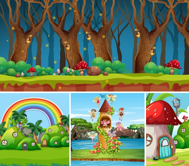 Four different scene of fantasy world with beautiful fairies in the fairy tale and forest at night scene and mushroom house and castle