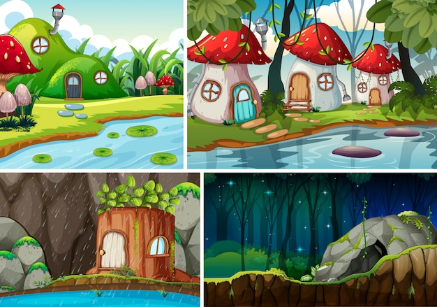 Four different scene of fantasy world with fantasy house