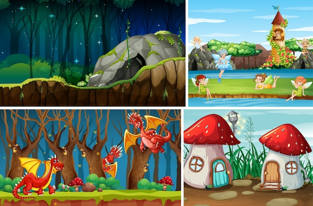 Four different scene of fantasy world with fantasy places and fantasy characters such as dragons and fairies