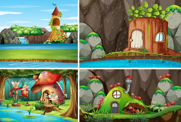 Four different scene of fantasy world with fantasy places and fantasy characters such as fairies and ant with antnest