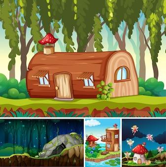 Quattro diverse scene del mondo fantasy con luoghi fantastici e personaggi fantasy come la casa di tronchi e la grotta di pietra