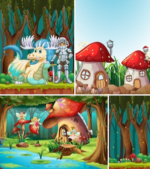 Four different scene of fantasy world with fantasy places and fantasy characters such as mushroom house and dragon with knight and fairies