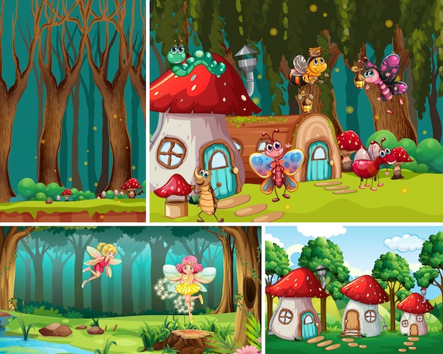 Four different scene of fantasy world with fantasy places and fantasy characters