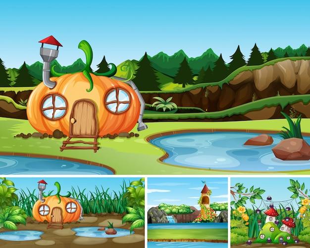 Quattro diverse scene del mondo fantasy con la casa e il castello di zucca