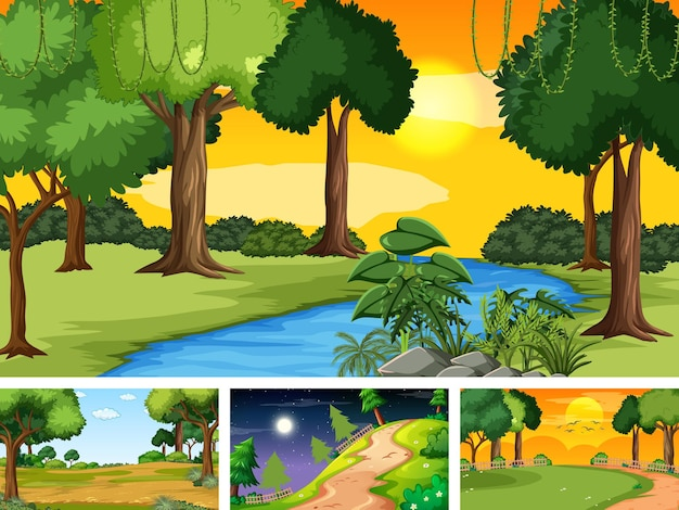 Four different scene of nature park and forest