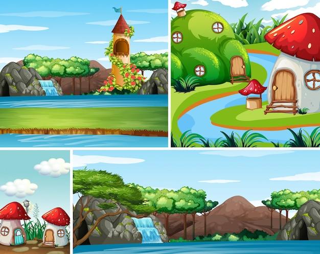 Четыре разных сцены фантастического мира с красивыми феями в сказке и замок со сценой падения воды