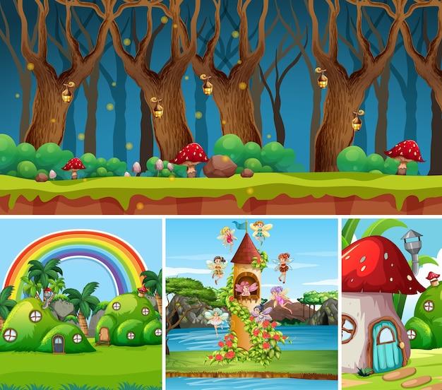 Четыре разных сцены из фантастического мира с красивыми феями в сказке и лесом в ночное время, грибным домом и замком.