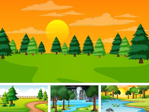 Четыре разных сцены природного парка и леса