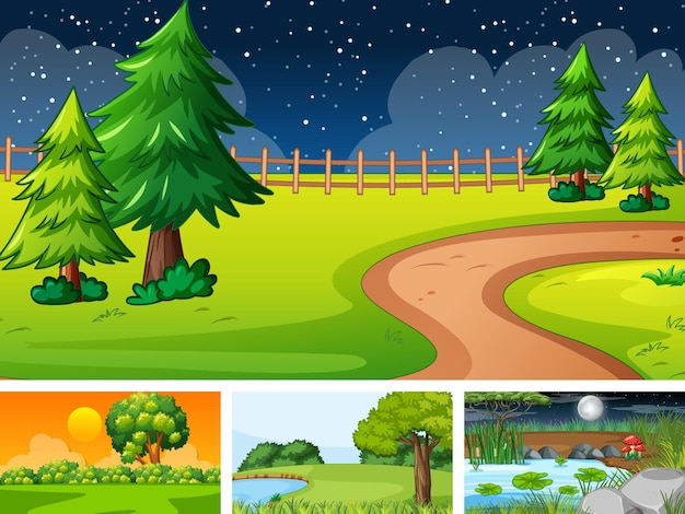 自然公園と森の4つの異なるシーン