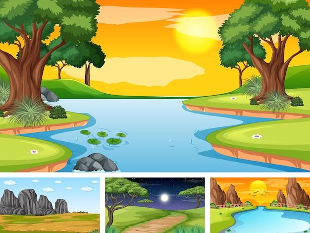 자연 공원과 숲의 4가지 다른 장면