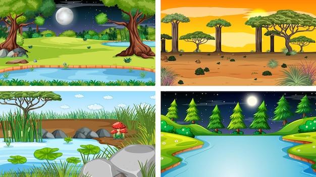 자연 공원과 숲의 네 가지 다른 장면