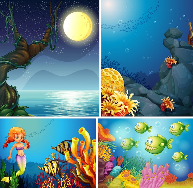 Четыре различных сцены тропического пляжа ночью и русалка под водой с морским создателем мультяшном стиле
