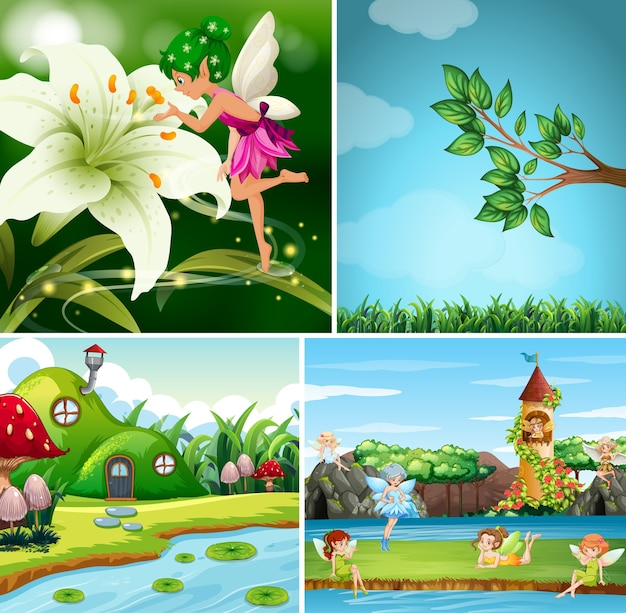 Four different scenes of fantasy world with fairies