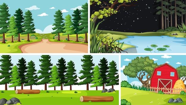 Четыре разных сцены на природе в мультяшном стиле