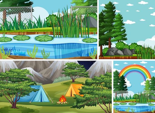 자연 설정 만화 스타일의 네 가지 장면