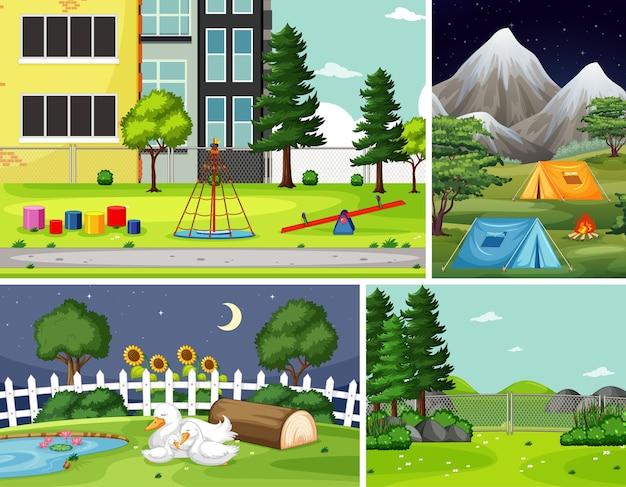 自然環境の4つの異なるシーン