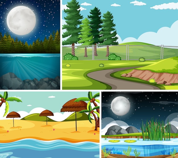 Four different scenes in nature setting