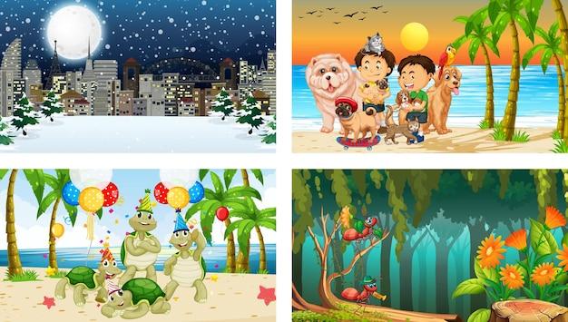 Четыре разных сцены с детским мультипликационным персонажем