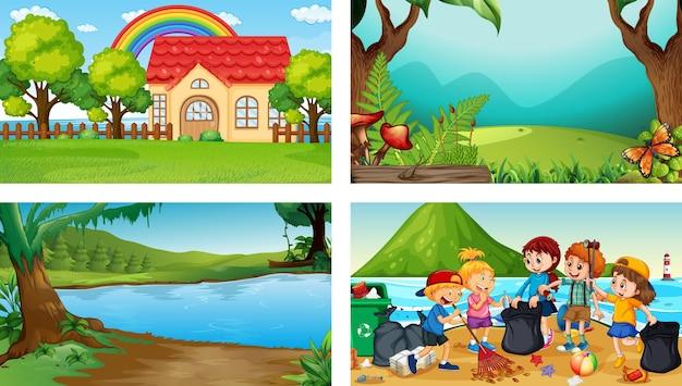 어린이 만화 캐릭터와 함께 4개의 다른 장면