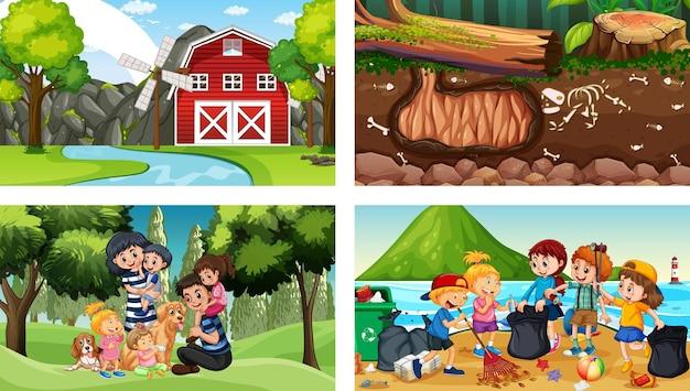 Quattro scene diverse con personaggi dei cartoni animati per bambini