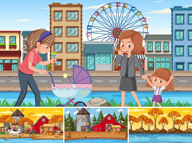 Four different scenes with children cartoon character