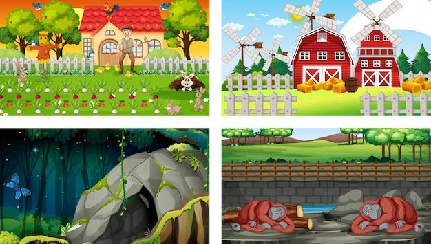 다양한 동물 만화 캐릭터가 있는 4개의 다른 장면