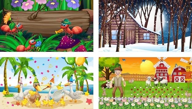 さまざまな動物の漫画のキャラクターと4つの異なるシーン