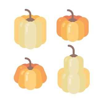 Four different shaped pumpkins flat icons