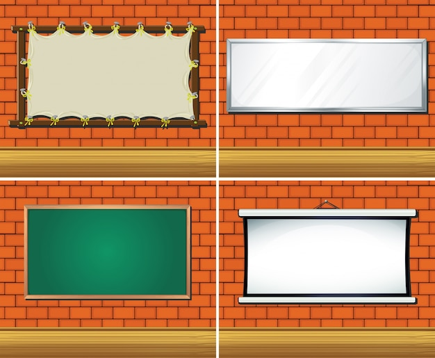 Четыре разных типа плат на стене