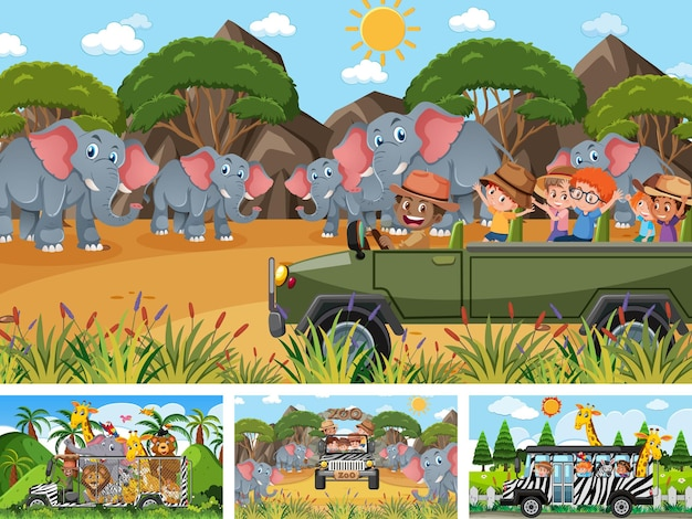 子供と動物がいる4つの異なる動物園シーン