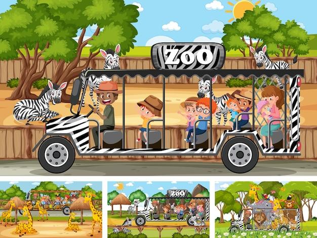 Четыре разных зоопарка с детьми и животными