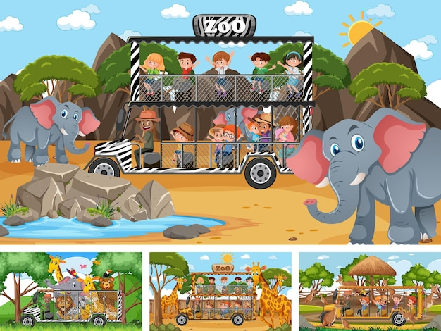 어린이와 동물이 있는 4개의 다른 동물원 장면