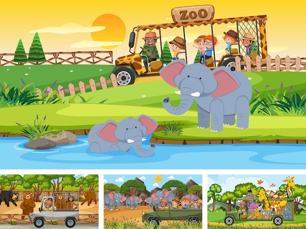 Four different zoo scenes with kids and animals
