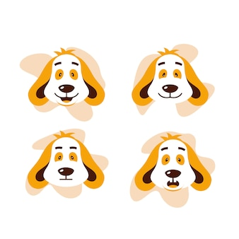 Four dog face expression cute vector illustration