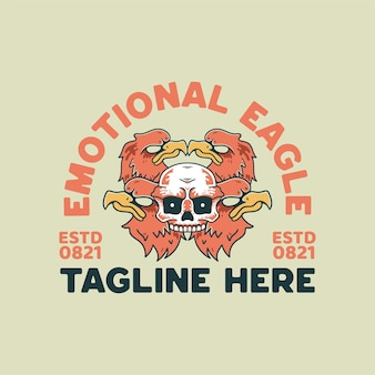 Four eagle and skull illustration retro style for t-shirt