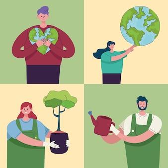Четыре персонажа-эколога