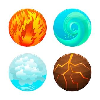 네 가지 요소 집합. 불, 물, 공기 및 지구