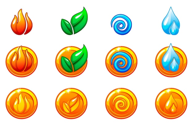 Four elements nature icons, golden round symbols set. wind, fire, water, earth symbol. objects on a separate layer