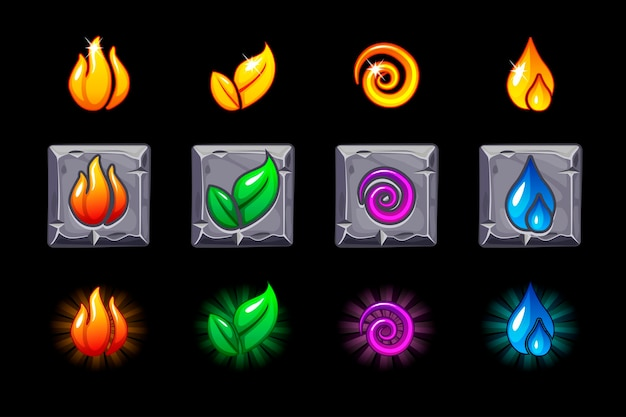Four elements nature icons on stone square set. wind, fire, water, earth symbol. objects on a separate layer