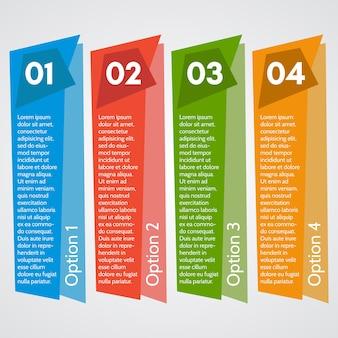インフォグラフィックデザインの4つの要素。ステップバイステップのインフォグラフィックデザインテンプレート。ベクトルイラスト