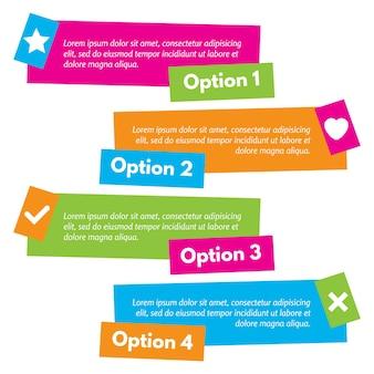 アイコン付きのインフォグラフィックデザインの4つの要素。ステップバイステップのインフォグラフィックデザインテンプレート。ベクトルイラスト