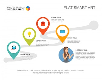 Four elements workflow template for presentation. Business data visualization.
