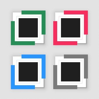 Four empty infographic frame set