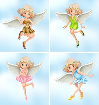 Four fairies with white wings