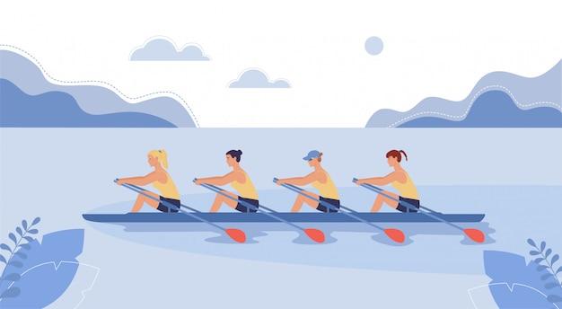 4 명의 여자 선수가 보트에서 수영하고 있습니다.